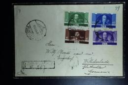 Romania: Registered Letter 1935 Mi Nr 480 - 483 To Munchen Gladbach Germany - 1918-1948 Ferdinand, Carol II. & Mihai I.
