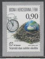 BOSNIA , CROAT,  2016, MNH, WORLD ENVIRONMENT DAY, CLOCKS, NESTS,  1v, SELF-ADHESIVE
