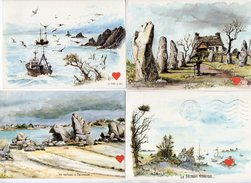 39426-ZE-PEINTURE--BRETAGNE---Lot De 4 CPM -aquarelle Originale De Robert LEPINE - Pittura & Quadri