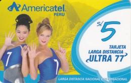 TARJETA DE PERU DE AMERICATEL DE 5 SOLES CON 2 CHICAS (MUJER-WOMAN) - Peru