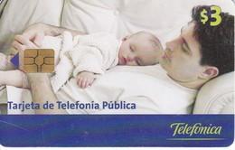 TARJETA DE ECUADOR DE TELEFONICA DE $3 PADRE CON SU HIJO