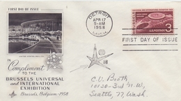 U.S.A. :1958: Y.638 On Travelled FDC With Illustrated Cancellation : EXPO '58,UNITED STATES PAVILLON,