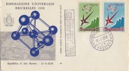 Rep. Di SAN MARINO :1958: Y.447-48 On FDC : EXPO '58,ATOMIUM,