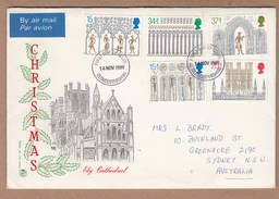 GB FDC Christmas 1989 - Ely Cathedral - Postally Used To Australia