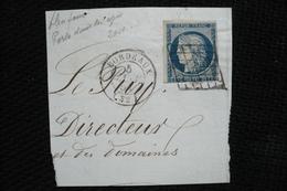 France Ceres 25c  N°56 Varieté Point Bleu Dans Tresse Sur Front  Sur Petit Fragment Bordeaux 5/01/1851