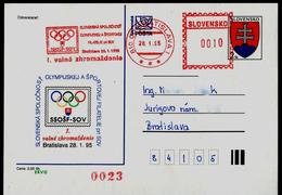 582-SLOVAKIA Prepaid Postal Card Slovak Society Of Olympic And Sports Philately (FIPO Member) 1st. General Meeting 1995