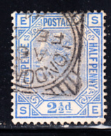 Great Britain Used #82 2 1/2p Victoria Plate #22 Position: SE