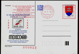 583-SLOVAKIA Postal Card Slovak Society Of Olympic And Sports Philately FIPO Member)IV. General Meeting Mexico 1968-1998