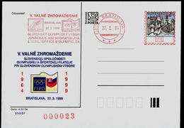 584-SLOVAKIA Prepaid Postal Card Slovak Society Of Olympic And Sports Philately FIPO Member The V. General Meeting 1999