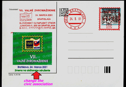 585-SLOVAKIA Prepaid Postal Card Slovak Society Of Olympic And Sports Philately FIPO Member VII. General Meeting 2001