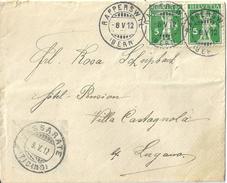 Brief  Rapperswil (Bern) - Lugano Cassarate            1912