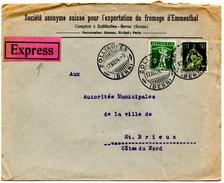 Lettre Express De Zollikofen (17.08.1914) Pour St Brieuc_Emmenthal