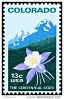 1977 USA Colorado Statehood Stamp #1711 Columbine Flower Rocky Mountain Mount Rock History