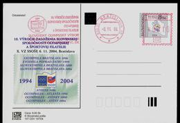 588-SLOVAKIA Prepaid Postal Card 10. Jahrestag-10th Anniversary SSOSP=(FIPO Member) Slovak Olympic Committee 1994-2004