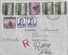CHILE → Registered Business Letter San José De La Mariquina To Switzerland   ►Airmail Stamps 1955◄ - Chili