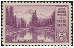 1934 USA Mt Rainier WA Stamp Sc#742 Forest River Nature  Mount