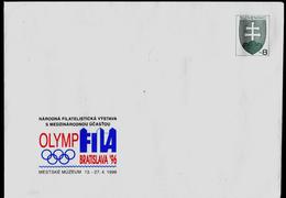 591-SLOVAKIA Prepaid Envelope OLYMFILA Nation. Philatelic Exhibition With Intern. Particip.Olymphilex Qualification 1996