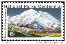 1972 USA National Parks Centennial Mount McKinley In Alaska Stamp #1454 Nature