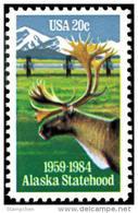 1984 USA Alaska Statehood 25th Anniversary Stamp Sc#2066 Caribou Deer Pipeline Oil Mount