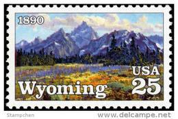 USA 1990 Wyoming Statehood Centennial Stamp #2444 Mount Painting