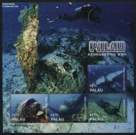 Palau 2016 Remembering WWII 4v M/s, (Mint NH), World War II - Aircraft & Aviation - Diving - History - Tran..