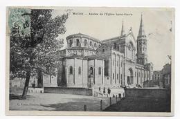 MACON EN 1907 - EGLISE SAINT PIERRE - ABSIDE AVEC PERSONNAGES - BEAU CACHET - CPA VOYAGEE - Macon