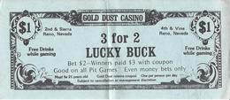 Gold Dust Casino - Reno, NV - 3 For 2 Lucky Buck Match Play Coupon - Advertising