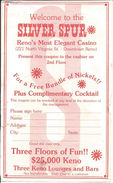 Silver Spur Casino - Reno, NV - Paper Coupon For Free Bundle Of Nickels & Complimentary Cocktail - Advertising