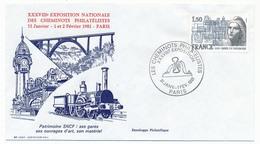 """FRANCE - Enveloppe """"Les Cheminots Philatélistes XXXVIIIeme Exposition"""" Paris 1981 - Trains"""