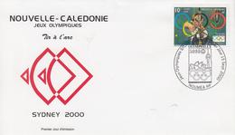 Enveloppe  FDC  1er   Jour   NOUVELLE  CALEDONIE   Jeux  Olympiques  De  SYDNEY   2000