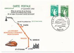 """FRANCE - Entier Repiqué """"TGV Paris Sud Est"""" Section St Florentin Lyon - Septembre 1981 PARIS - Trains"""