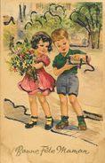 Bonne Fête Maman - Garçon Et Fillette Avec Bouquet - Carte Coloprint Avec Brillants En Relief - Fête Des Mères