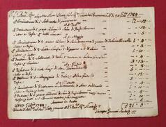 1784  ANTICA FATTURA MANOSCRITTA  DELA SARTO IACOPO GERVASI ...fatta Veste Lunga Di Seta....perfettamente Conservato - Documenti Storici
