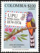 Colombie. Colombia. 1974  Green-backed Trogon    Trogon Viridis