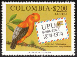 Colombie. Colombia. 1974  Andean Cock-of-the-rock    Rupicola Peruvianus