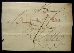 Marque Rouge DOUAY (Douai) Sur Une Lettre Pour Lille, Non Datée - Marcophilie (Lettres)