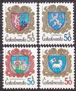 CZECHOSLOVAKIA 1982, Complete Set, MNH. Michel 2651-2654. COAT OF ARMS - CITIES. Good Condition, See The Scans.