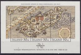 1991, Island,  744/46 Block 12, Briefmarkenausstellung NORDIA '91,, MNH ** - Blocks & Sheetlets