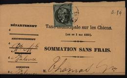 YT 11 Empire Non Dentelé Seul Sur Document Taxe Municipale Sur Les Chiens Sommation Sans Frais Cote 500 Euros - 1862 Napoleon III