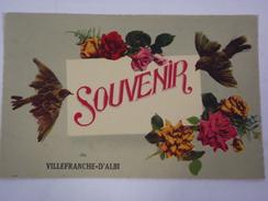 CPA TARN 81 - SOUVENIR DE VILLEFRANCHE D'ALBI - VILLEFRANCHE D'ALBIGEOIS - FLEURS ET OISEAUX - ED. ROB - R1119 - Villefranche D'Albigeois