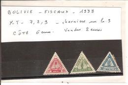 Bolivie - Fiscaux - 1938 - Y-T Num 7,8,9 (charnière Sur Le 9) - Côte 6 Euros - Vendus 2 Euros - Bolivia