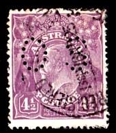 Australia 1924 King George V  41/2d Violet  Single Crown Wmk Violet Perf OS Used - - - - - 1913-36 George V: Heads