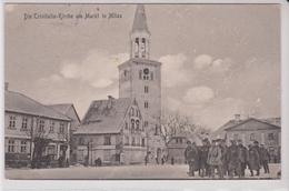 LETTONIE . Die Trinitatis - Kirche Am Markt In MITAU =  JELGAVA  ( Groupe De Soldats .  Cachet Militaria) - Lettonie