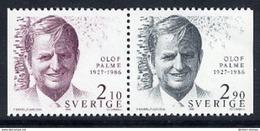 SWEDEN 1986  Death Of Olaf Palme MNH / **.  Michel 1384-85 - Unused Stamps