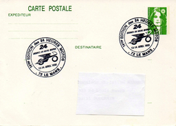 """LE MANS (SARTHE) : MOTO Oblitération Temporaire 1991 """"24 HEURES MOTOS"""" Sur ENTIER CP"""