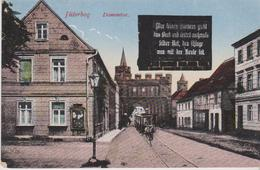 ALLEMAGNE . JÜTERBOG  Dammtor (Tramway à Cheval, Ecriteau Sur Mur Noir ) + Cachet Militaria - Jueterbog