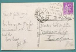 M 8  DAGUIN A TEXTE NIMES ROME FRANCAISE .1933 SUR PAIX LILAS 40 C - Postmark Collection (Covers)