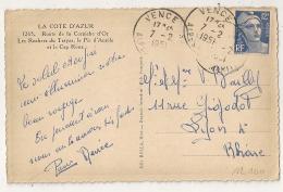 VENCE Alpes Maritimes Sur 12f GANDON. 1951 - Poststempel (Briefe)