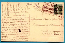 """M18  :  DAGUIN  TEXTE A GAUCHE  """" DUNKERQUE MALO LES BAINS """"  1923 SUR SEMEUSE VERT  10 C - Postmark Collection (Covers)"""