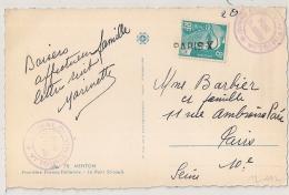 GRIFFE PARIS X Sur 8f GANDON Sur CP De MENTON Pour PARIS 10°. - Postmark Collection (Covers)